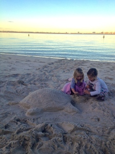 We stumbled across somebody else's sand sculpture of a turtle... complete with its tracks up from the water!
