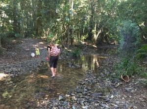 Piggy backs across the first creek crossing